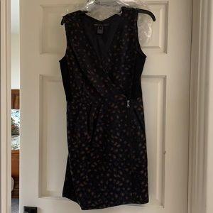 Amoeba Print Dress dress in black with navy & tan